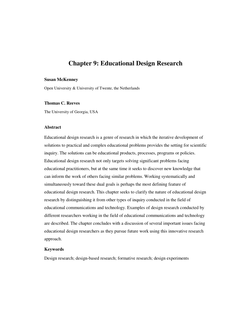 PDF Educational Design Research