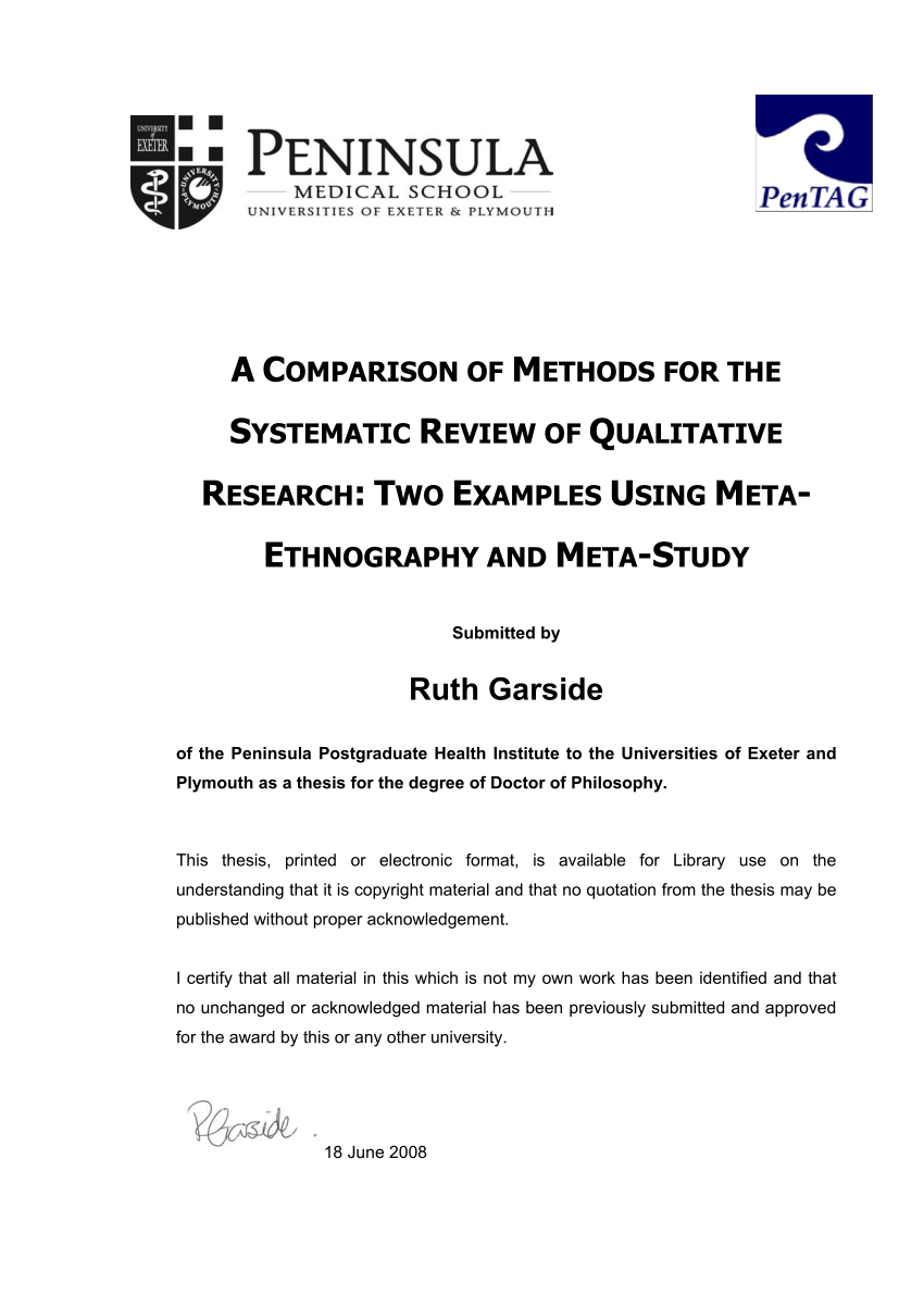 PDF A COMPARISON OF METHODS FOR THE SYSTEMATIC REVIEW OF