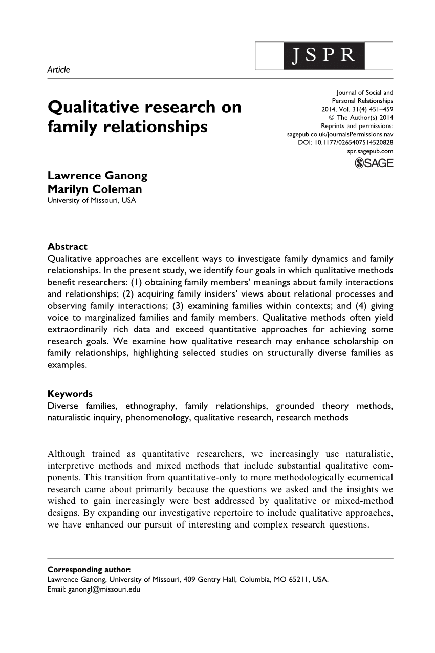 PDF Qualitative Research On Family Relationships