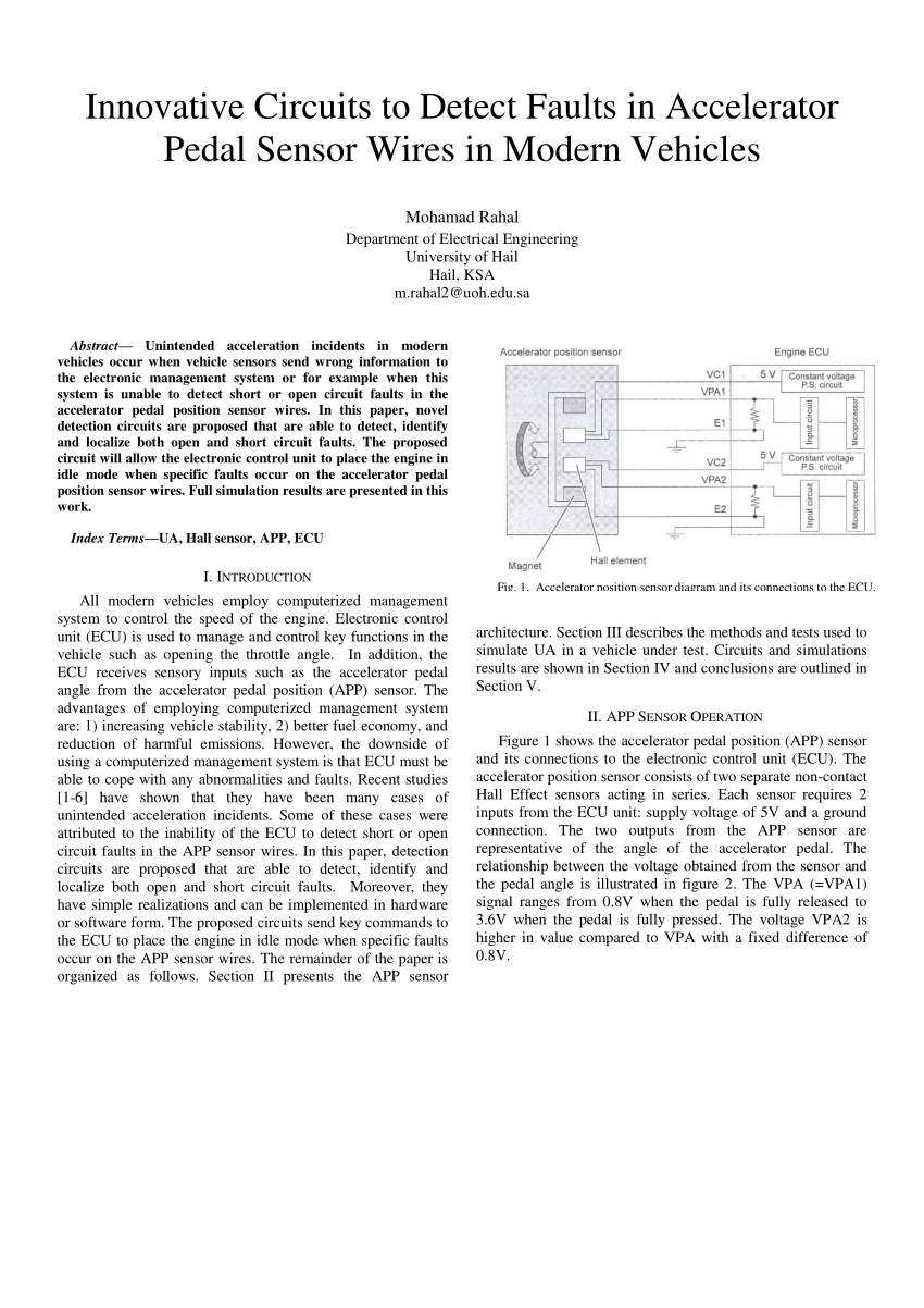 hight resolution of  pdf innovative circuits to detect faults in accelerator pedal sensor wires in modern vehicles