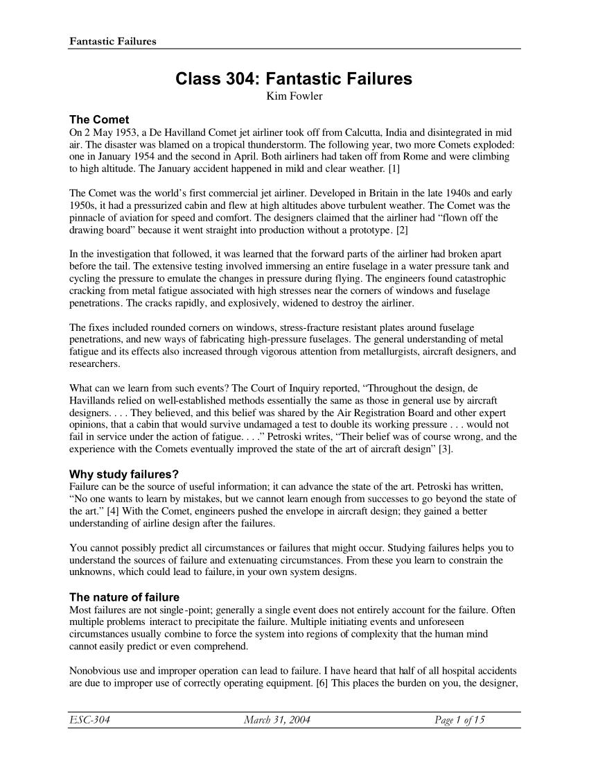 medium resolution of  pdf class 304 fantastic failures