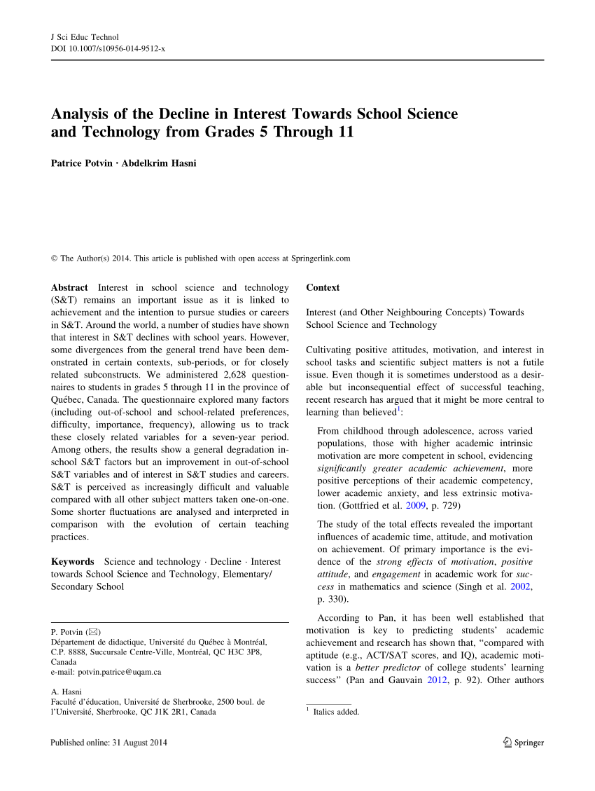 medium resolution of PDF) Analysis of the Decline in Interest Towards School Science and  Technology from Grades 5 Through 11