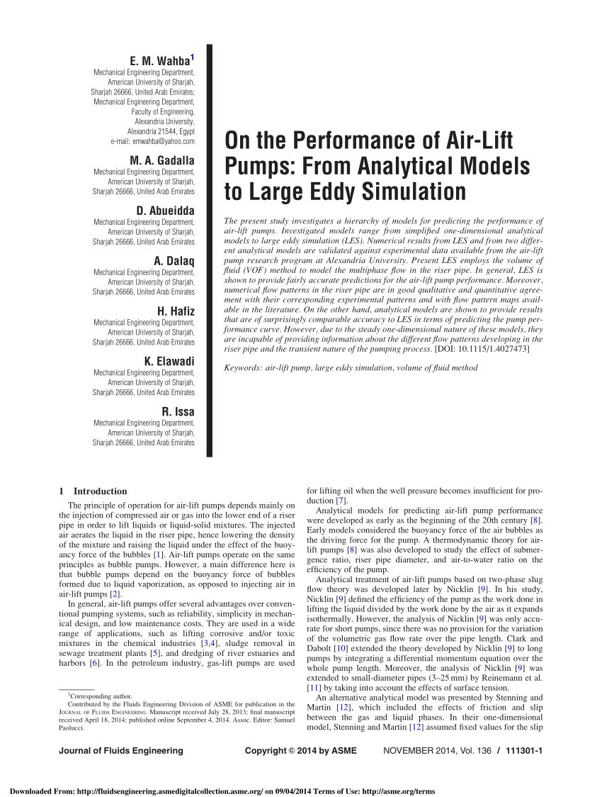 hight resolution of  pdf on the performance of air lift pumps from analytical models to large eddy simulation
