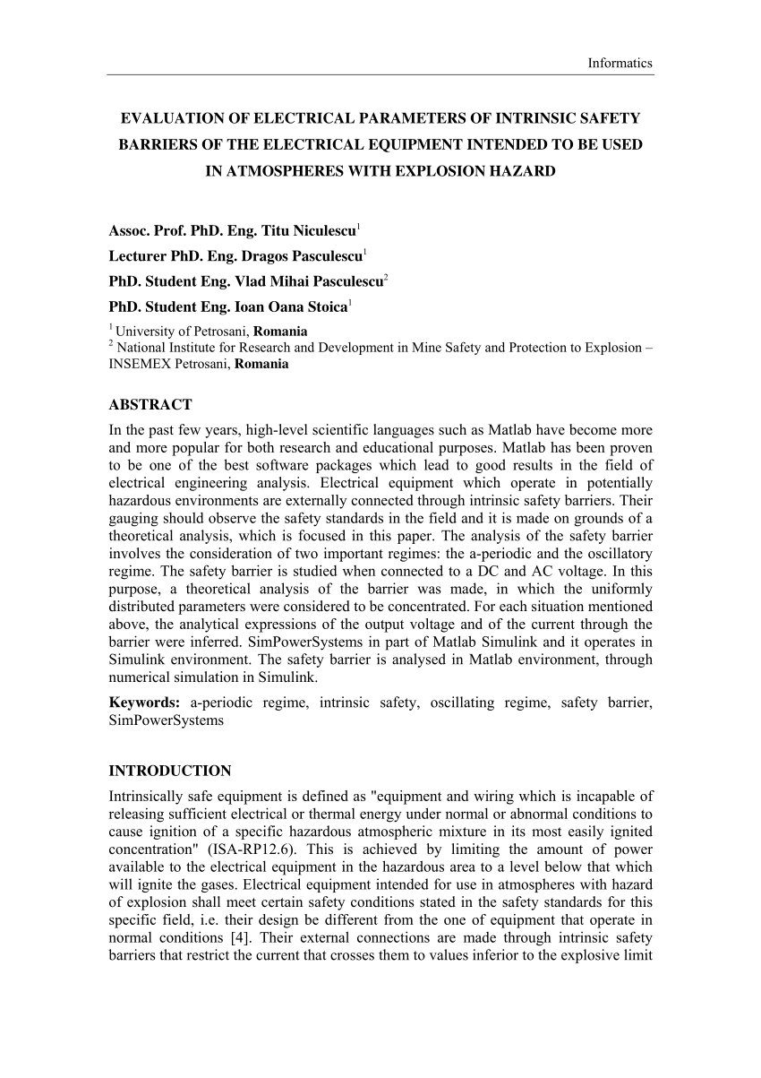 hight resolution of  pdf evaluation of electrical parameters of intrinsic safety barriers of the electrical equipment intended to be used in atmospheres with explosion hazard
