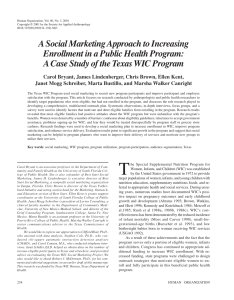 Pdf  social marketing approach to increasing enrollment in public health program case study of the texas wic also rh researchgate