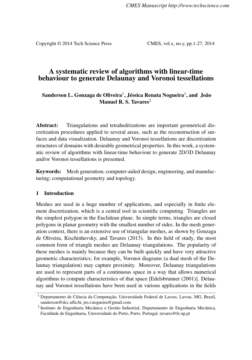 medium resolution of  pdf a systematic review of algorithms with linear time behaviour to generate delaunay and voronoi tessellations