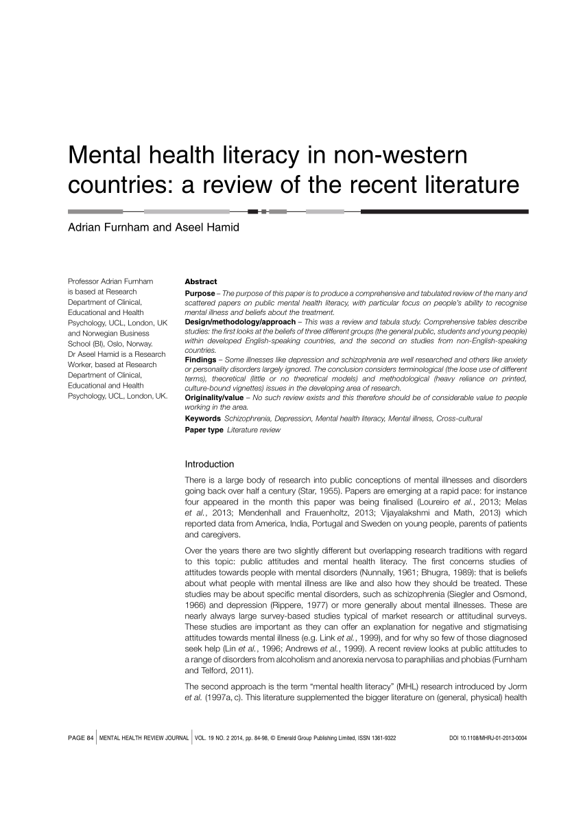 PDF Mental Health Literacy In Non Western Countries A