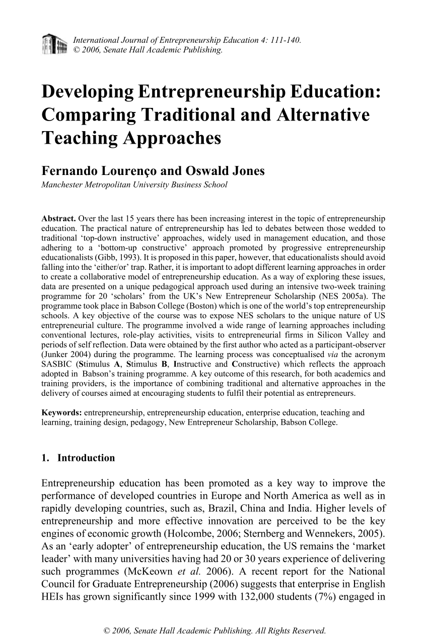 Pdf Developing Entrepreneurship Education Comparing Traditional And Alternative Teaching Approaches