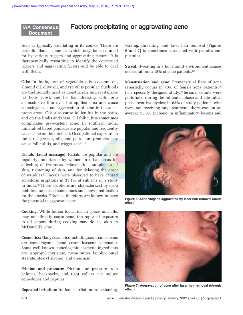 hight resolution of pdf patient perception on precipitating or aggravating factors for papular acne acne cosmetica diagram