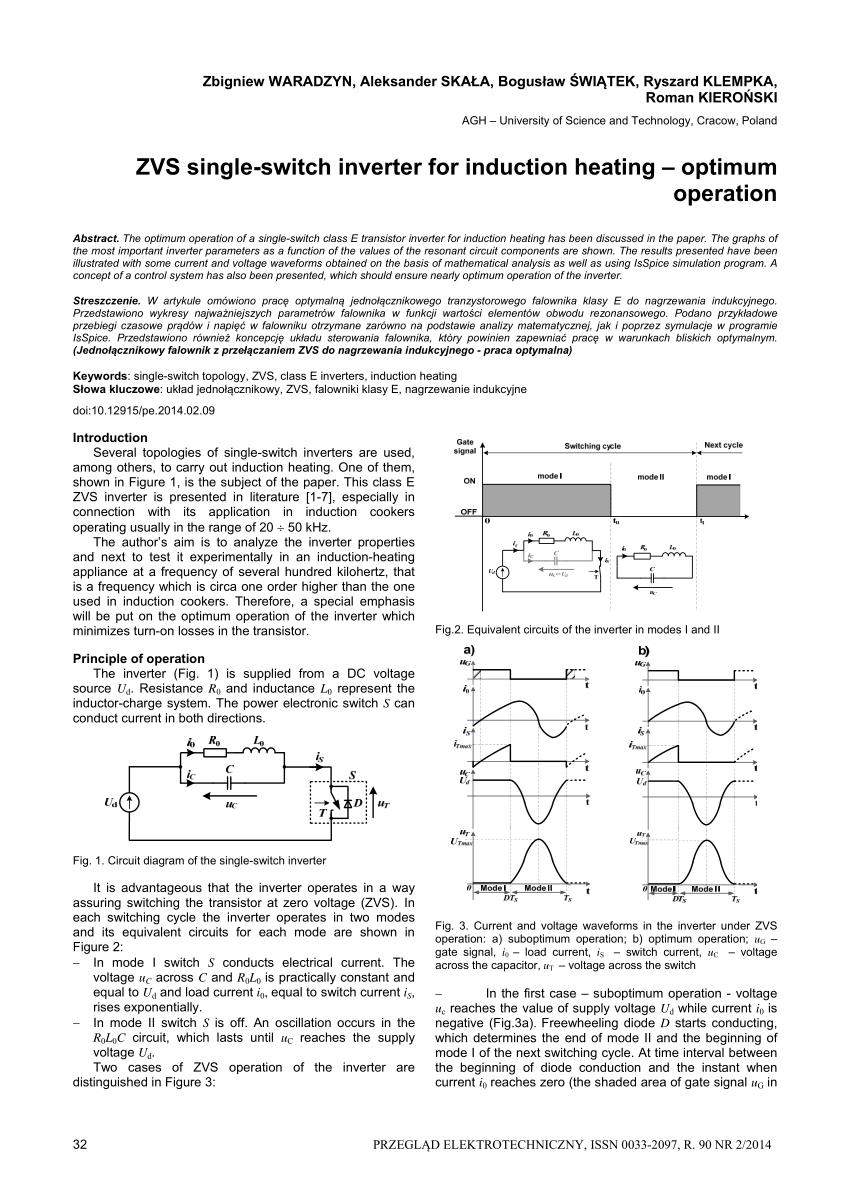 medium resolution of  pdf zvs single switch inverter for induction heating optimum operation