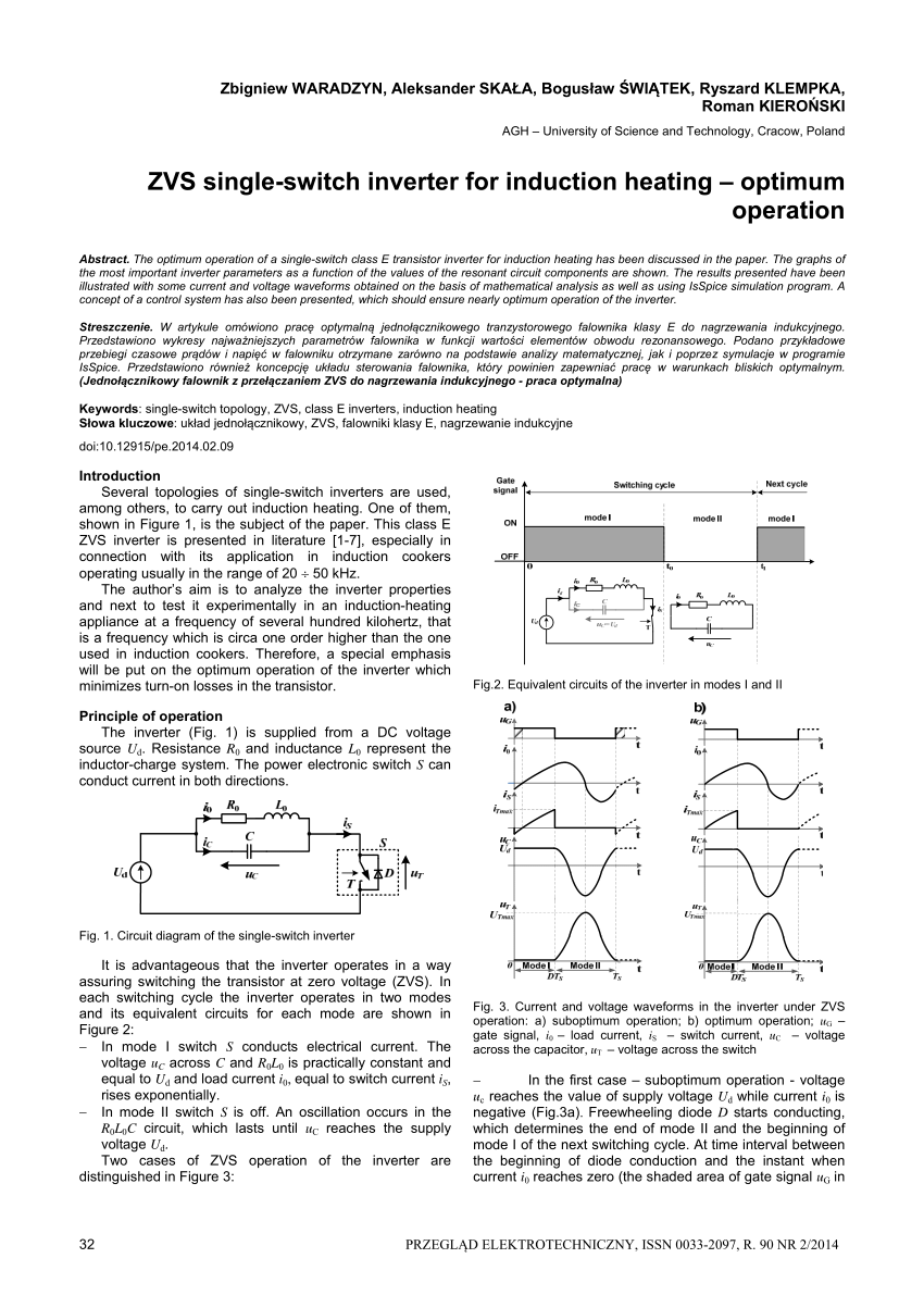 hight resolution of  pdf zvs single switch inverter for induction heating optimum operation
