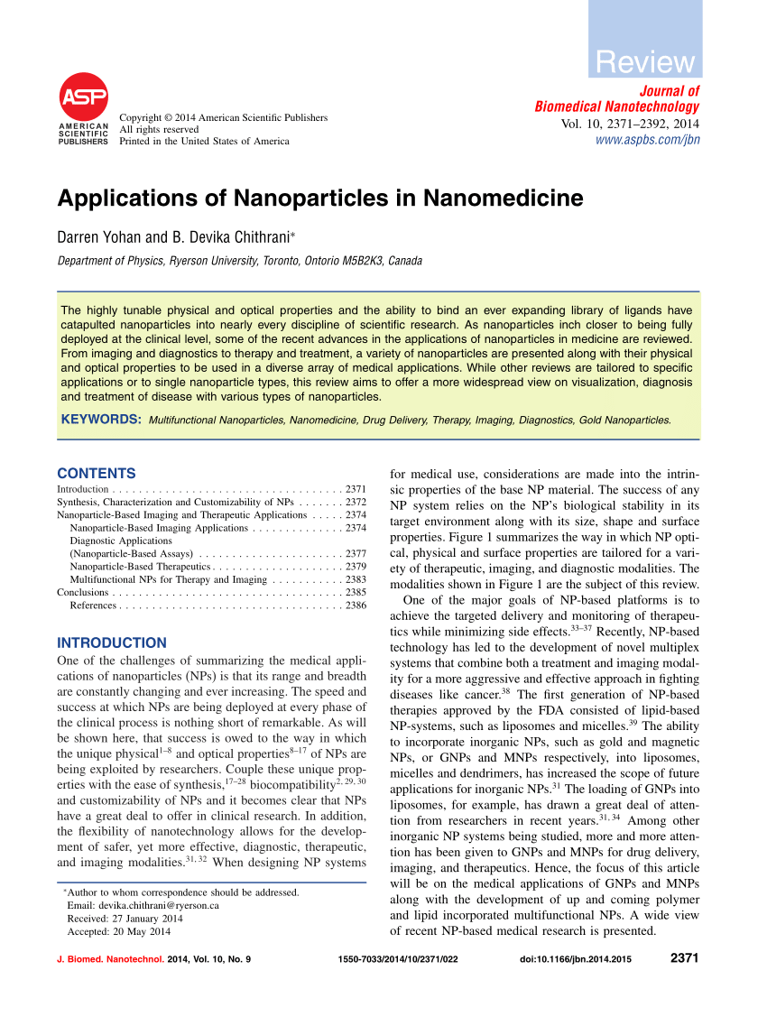 PDF Applications Of Nanoparticles In Nanomedicine
