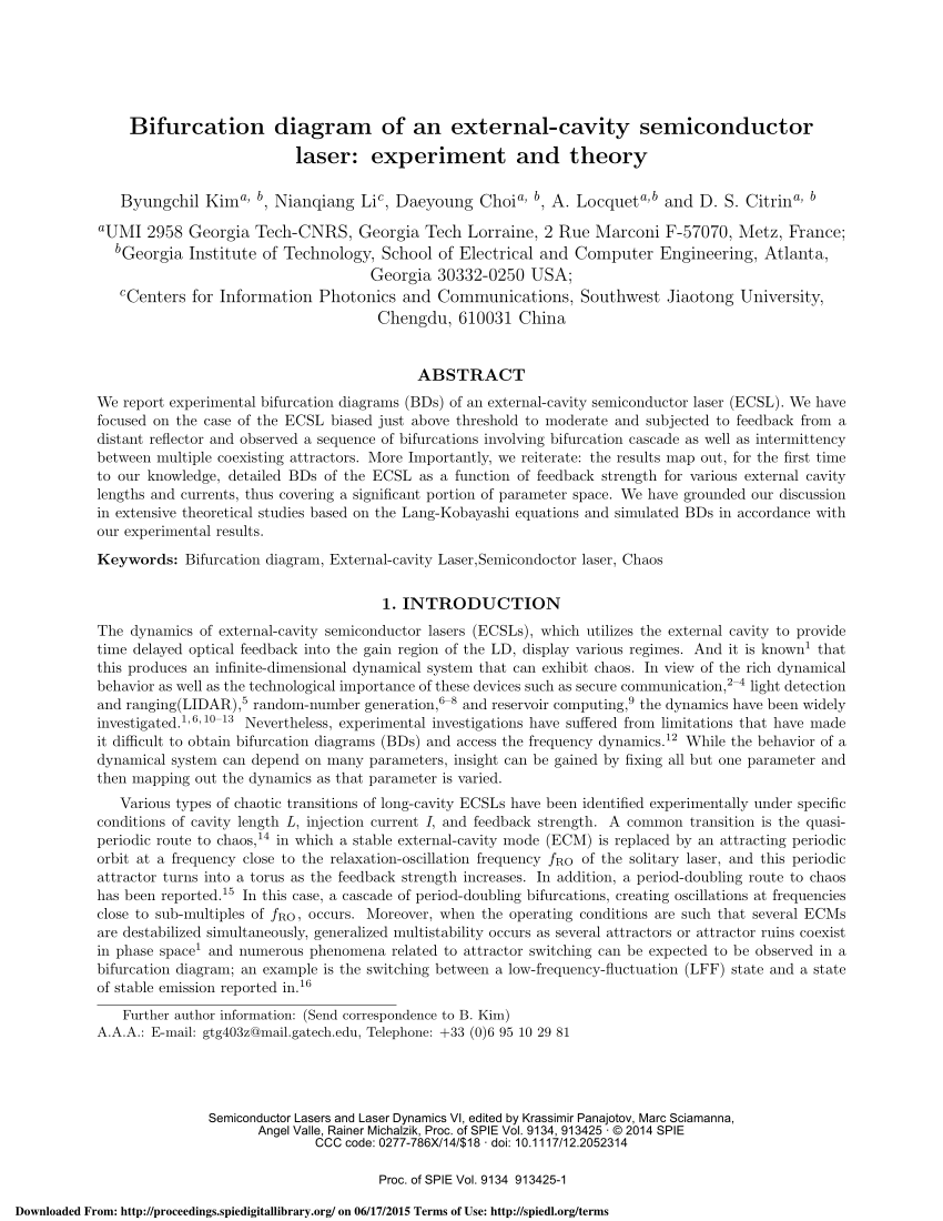 hight resolution of bifurcation analysis of a spatially extended laser with optical feedback request pdf