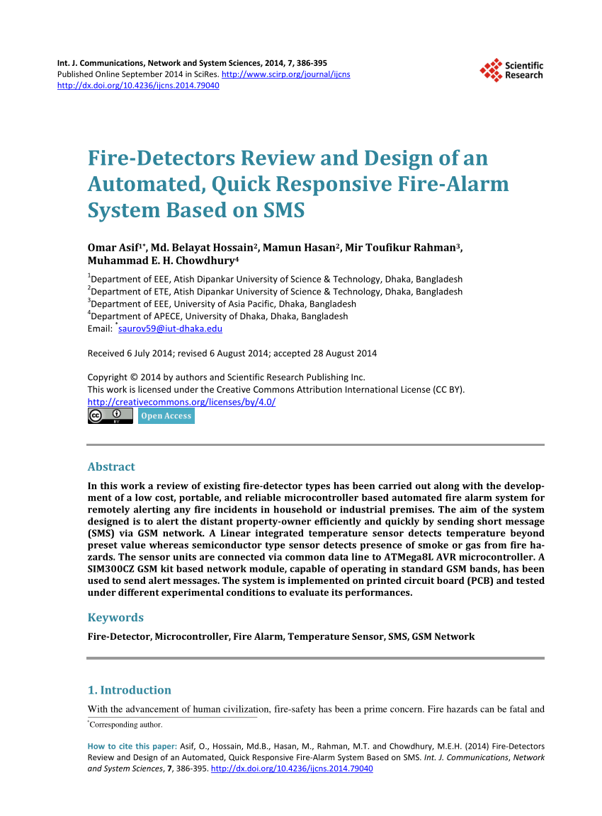 hight resolution of  pdf fire detectors review and design of an automated quick responsive fire alarm system based on sms