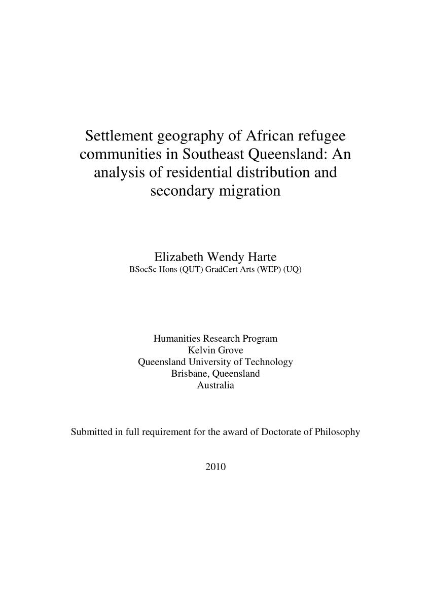 PDF) Settlement geography of African refugee...