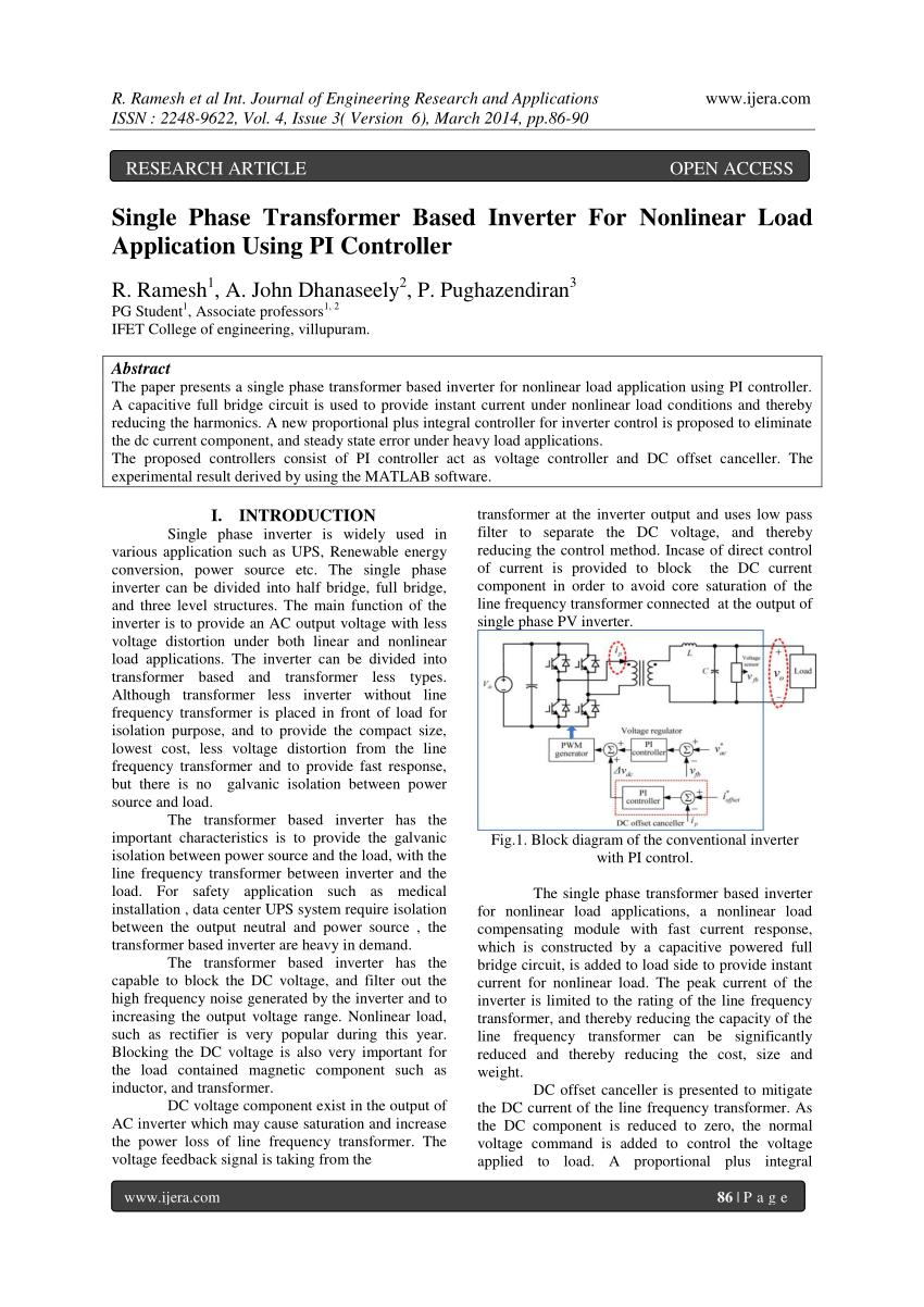 medium resolution of  pdf single phase transformer based inverter for nonlinear load application using pi controller