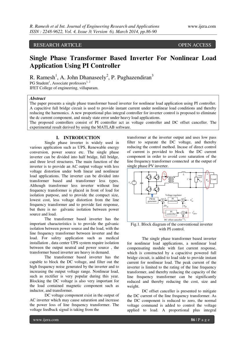 hight resolution of  pdf single phase transformer based inverter for nonlinear load application using pi controller