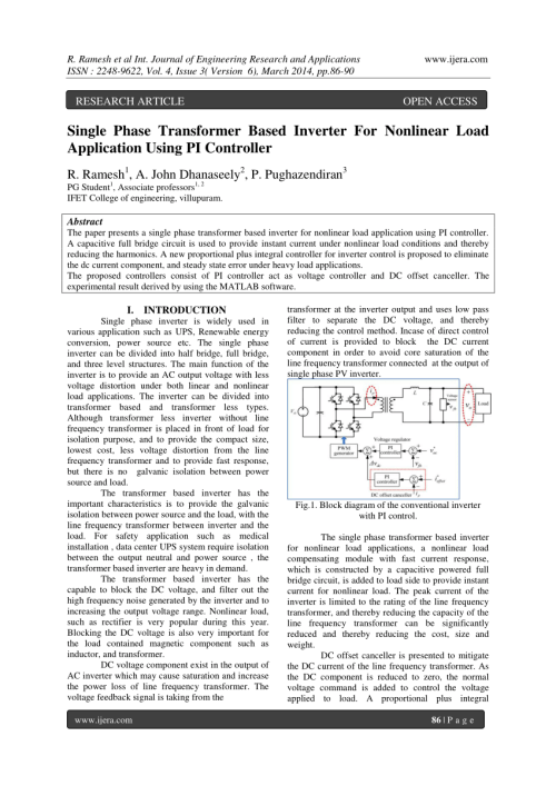small resolution of  pdf single phase transformer based inverter for nonlinear load application using pi controller