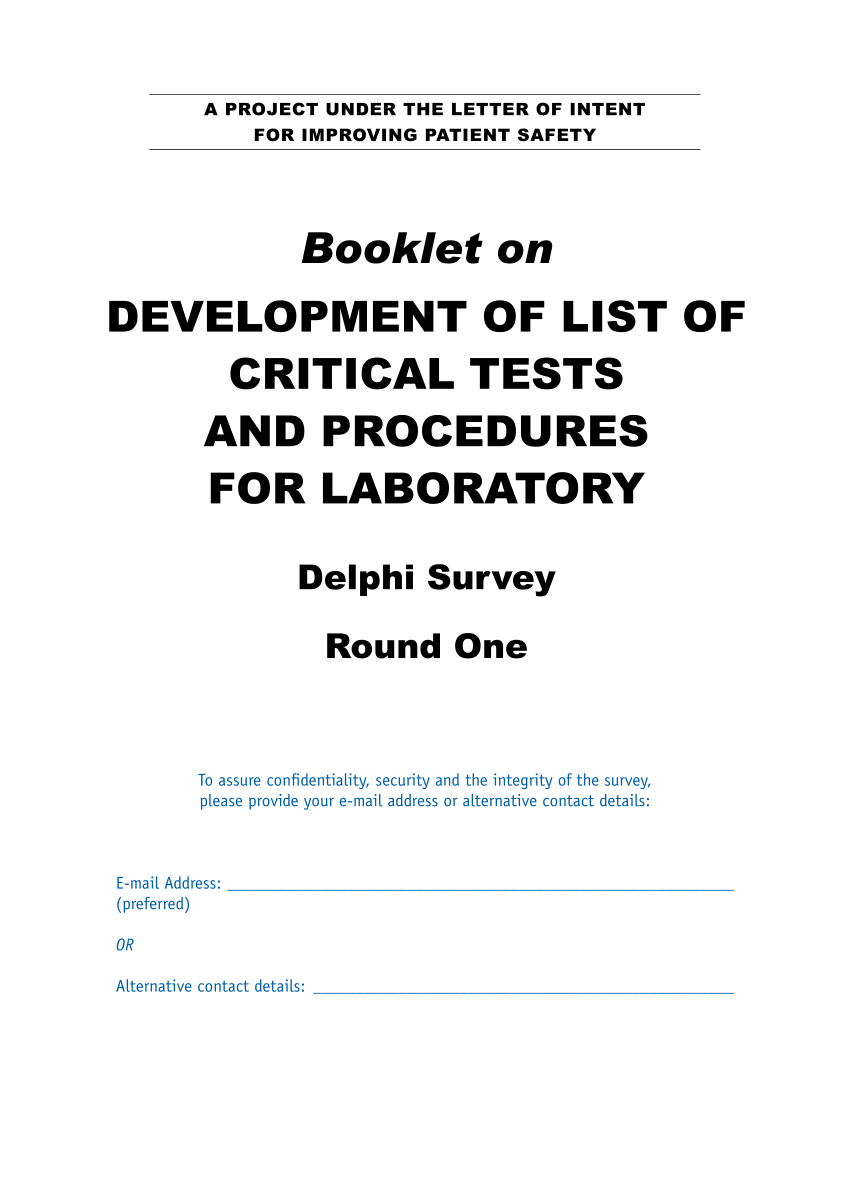 (PDF) Tool: Booklet on DEVELOPMENT OF LIST OF CRITICAL
