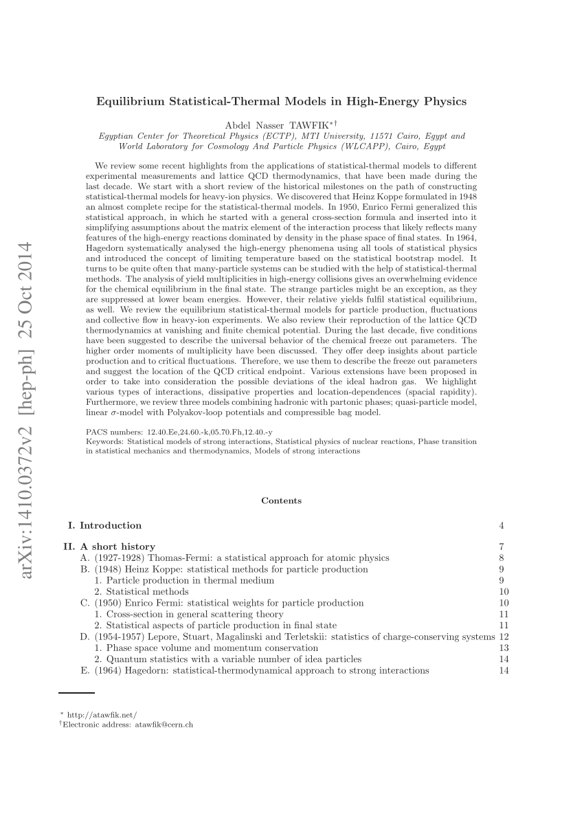 (PDF) Equilibrium Statistical-Thermal Models in High