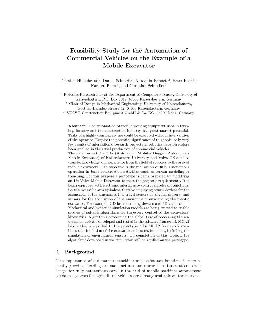 PDF Feasibility Study For The Automation Of Commercial Vehicles On