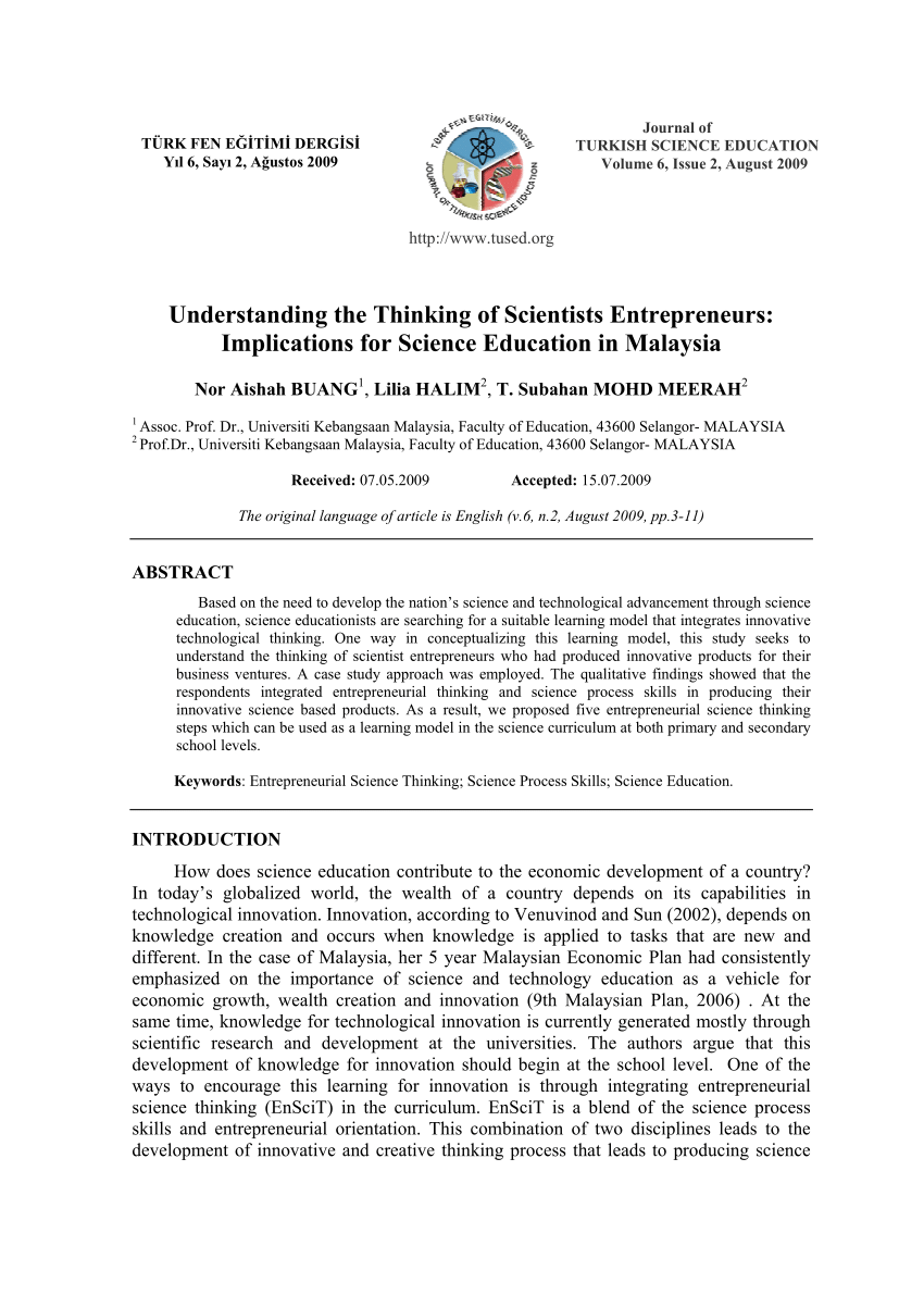 Pdf Understanding The Thinking Of Scientists Entrepreneurs Implications For Science Education In Malaysia