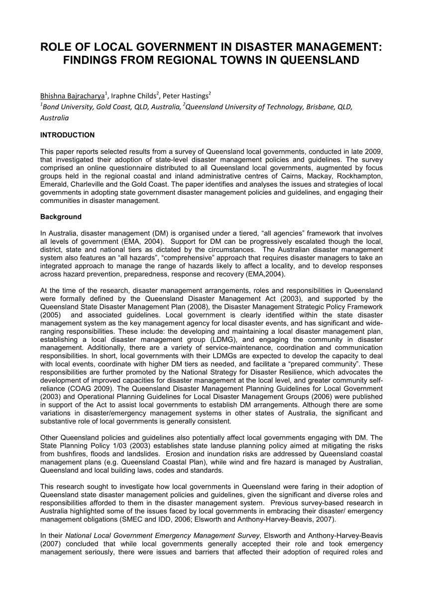 PDF ROLE OF LOCAL GOVERNMENT IN DISASTER MANAGEMENT FINDINGS FROM