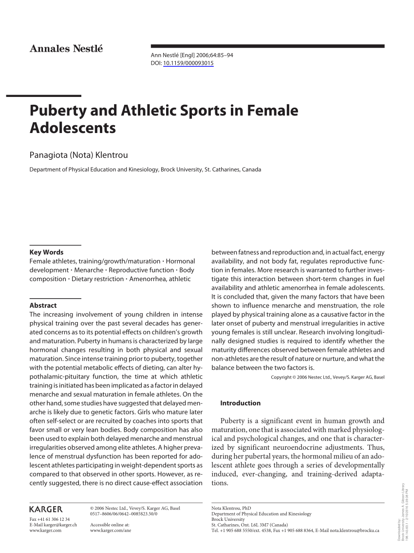 puberty and athletic sports in female