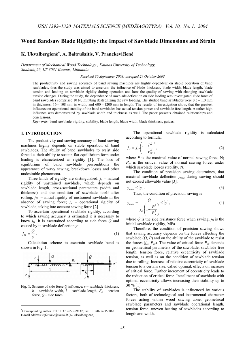 Bandsaw Blade Length Formula