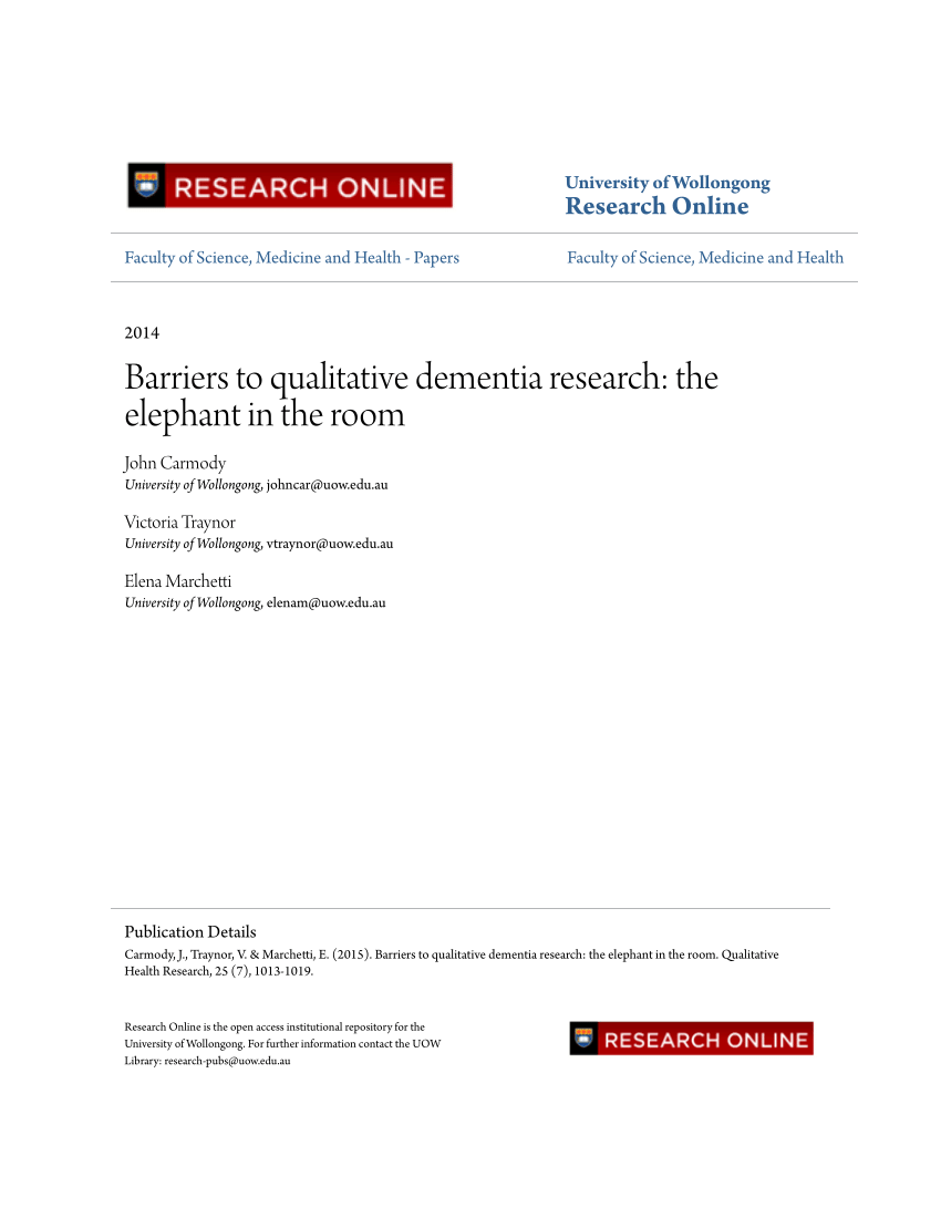 PDF Barriers To Qualitative Dementia Research The Elephant In The Room