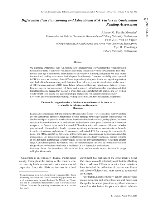 small resolution of PDF) Differential Item Functioning and Educational Risk Factors in  Guatemalan Reading Assessment