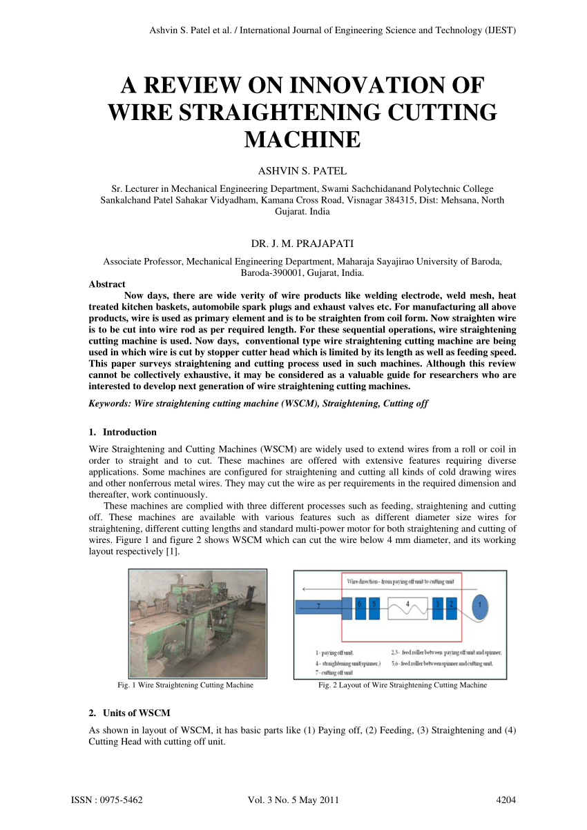hight resolution of  pdf a review on innovation of wire straightening cutting machine