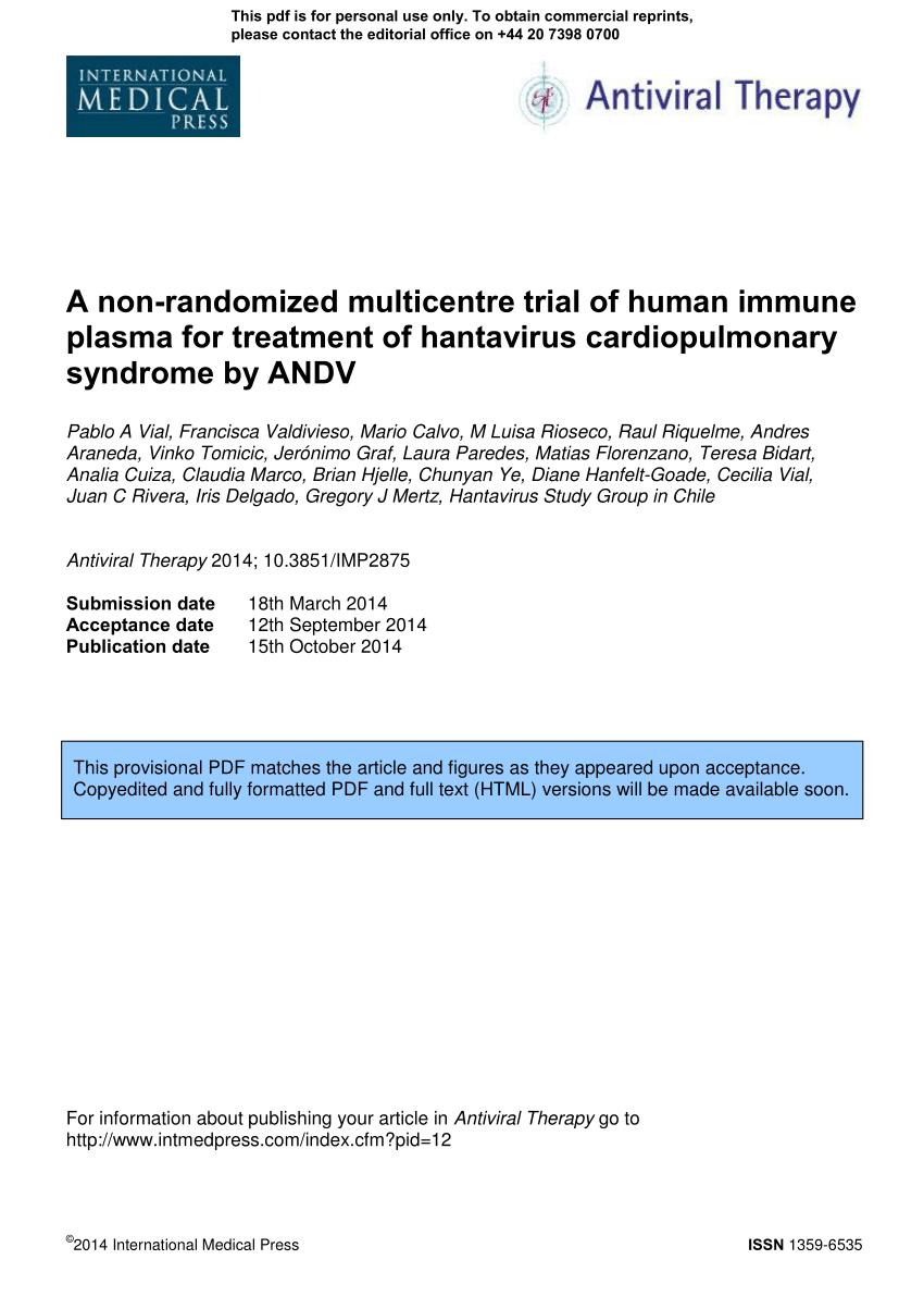PDF) A non-randomized multicentre trial of human immune plasma for ...