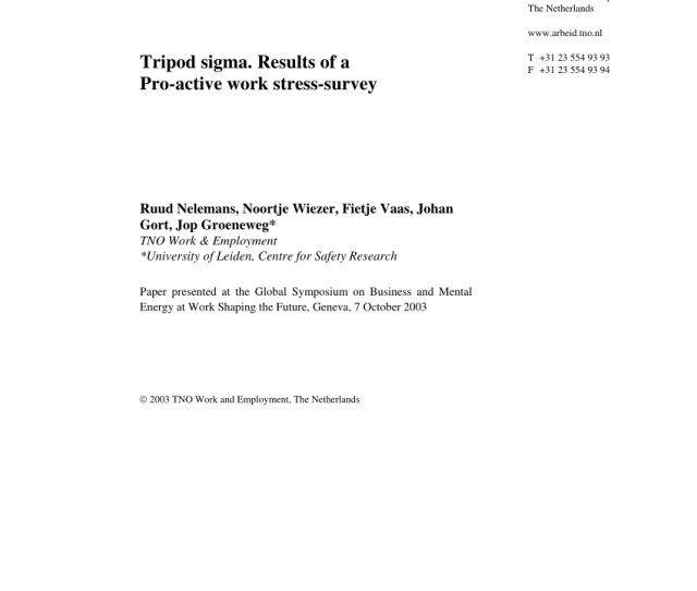 Pdf Tno Work And Employment Tripod Sigma Results Of A Pro Active Work Stress Survey