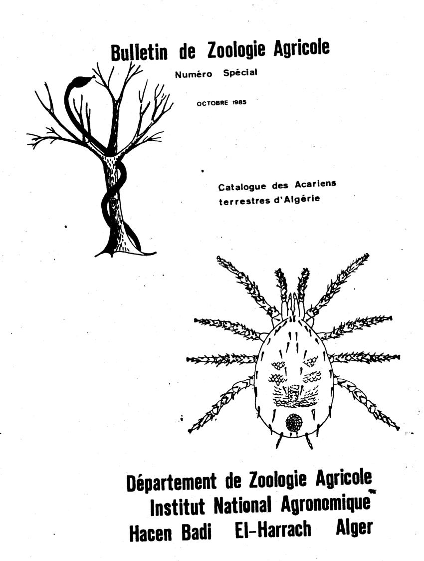 (PDF) Catalogue des Acariens terrestres d'Algerie
