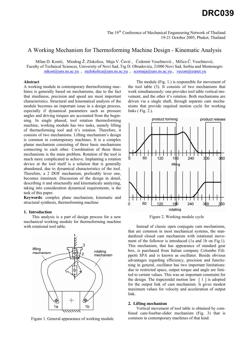 (PDF) A Working Mechanism for Thermoforming Machine Design