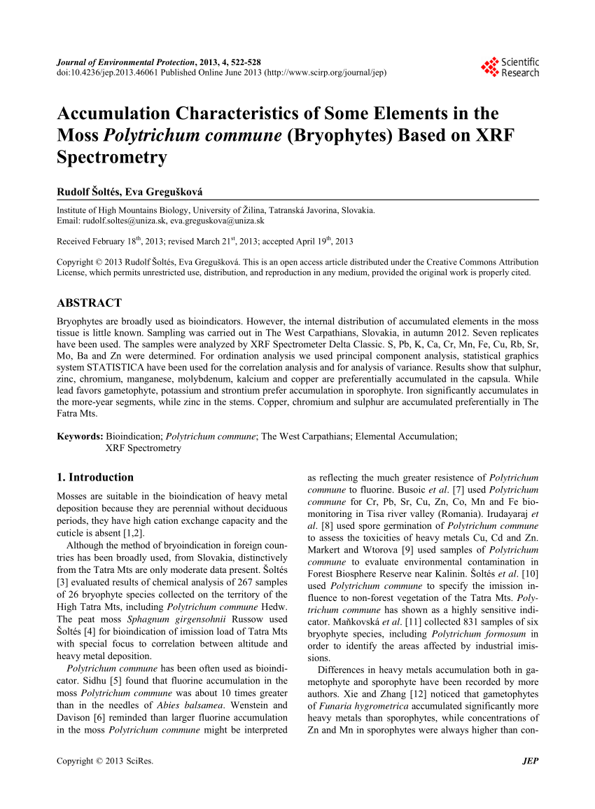 medium resolution of  pdf accumulation characteristics of some elements in the moss polytrichum commune bryophytes based on xrf spectrometry