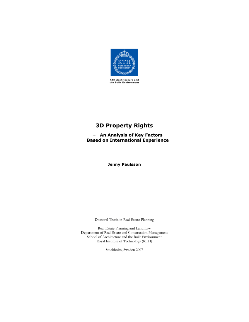 Pdf) 3D Property Rights – An Analysis Of Key Factors Based On