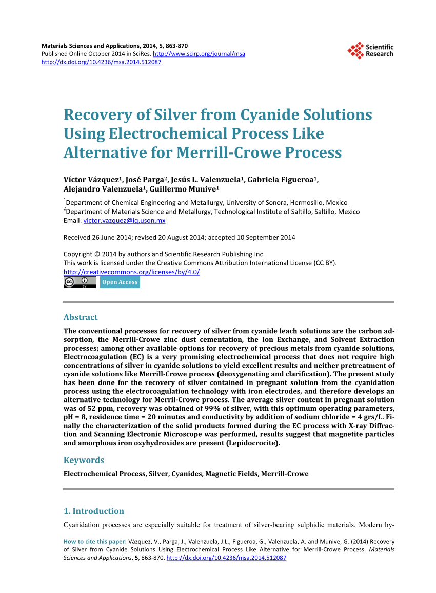 hight resolution of  pdf recovery of silver from cyanide solutions using electrochemical process like alternative for merrill crowe process