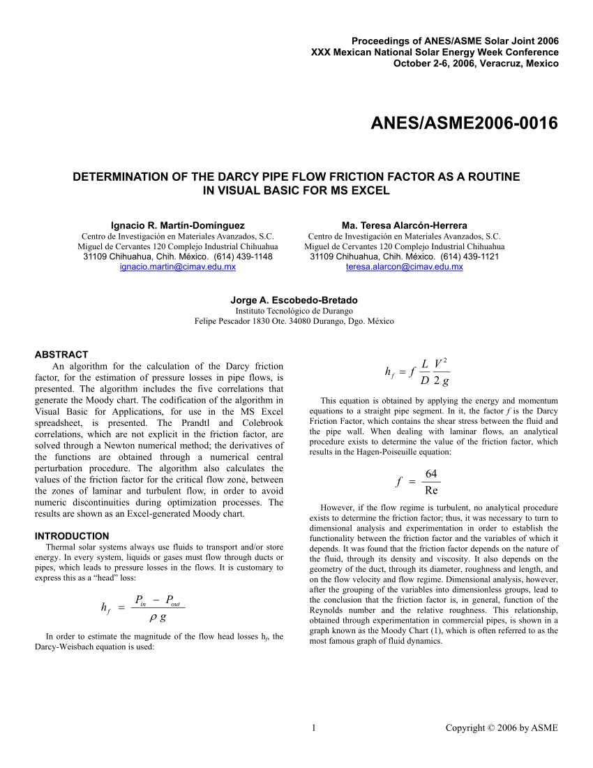 PDF) Determination of the Darcy Pipe Flow Friction Factor as a ...