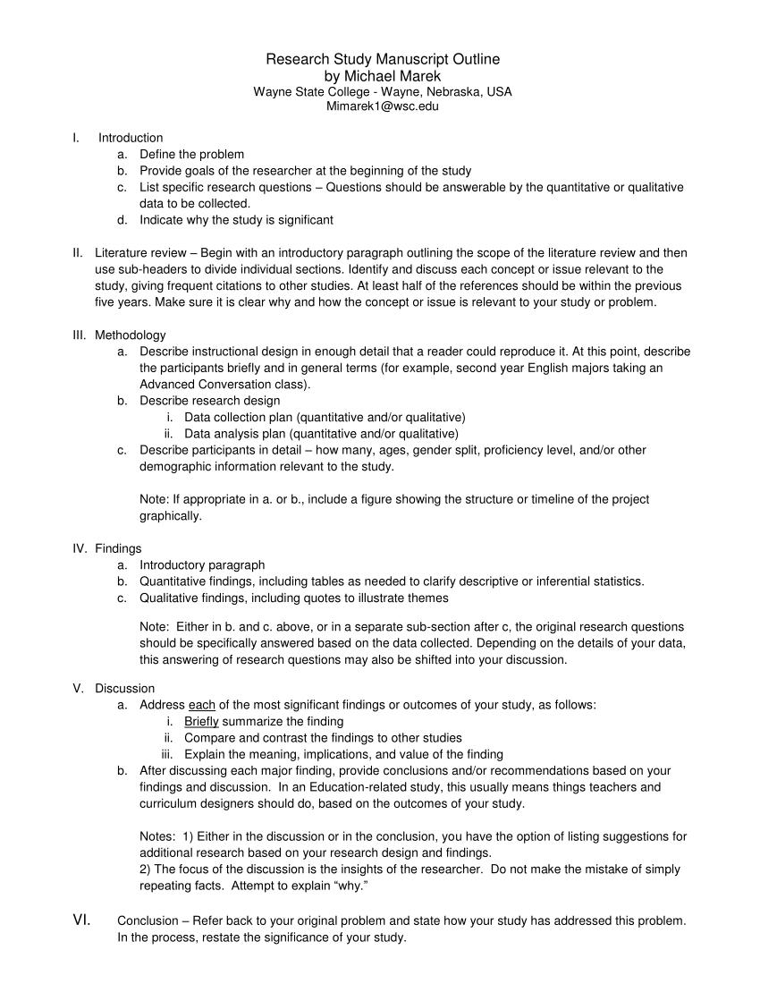 PDF Research Study Manuscript Outline