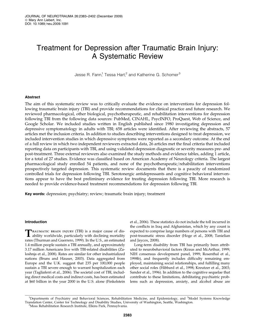 (PDF) Treatment for Depression after Traumatic Brain ...
