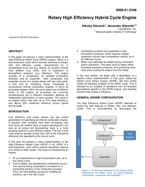small resolution of  pdf high efficiency hybrid cycle engine