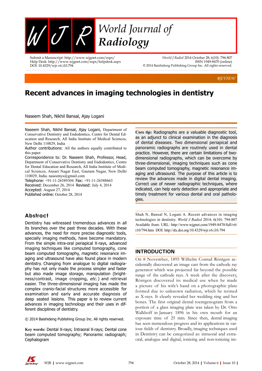 pdf recent advances in imaging technologies in dentistry