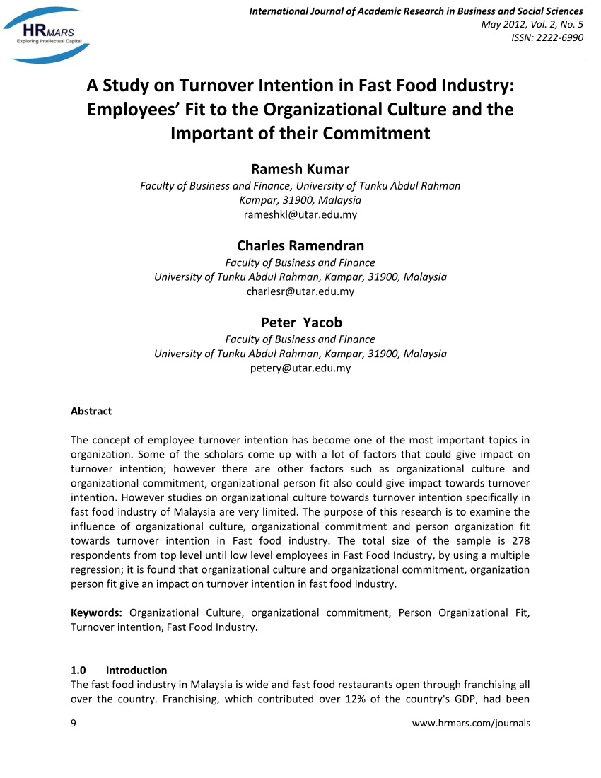 PDF A Study On Turnover Intention In Fast Food Industry Employees