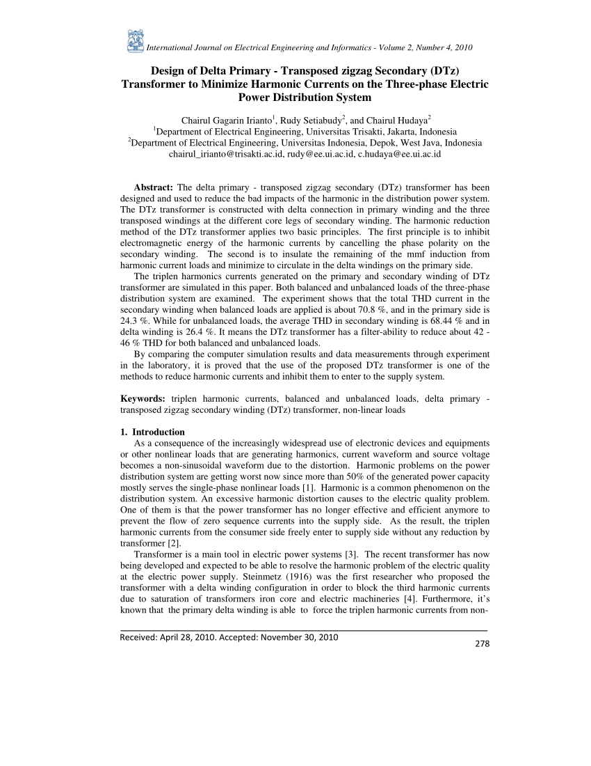hight resolution of  pdf design of delta primary transposed zigzag secondary dtz transformer to minimize harmonic currents on the three phase electric power distribution
