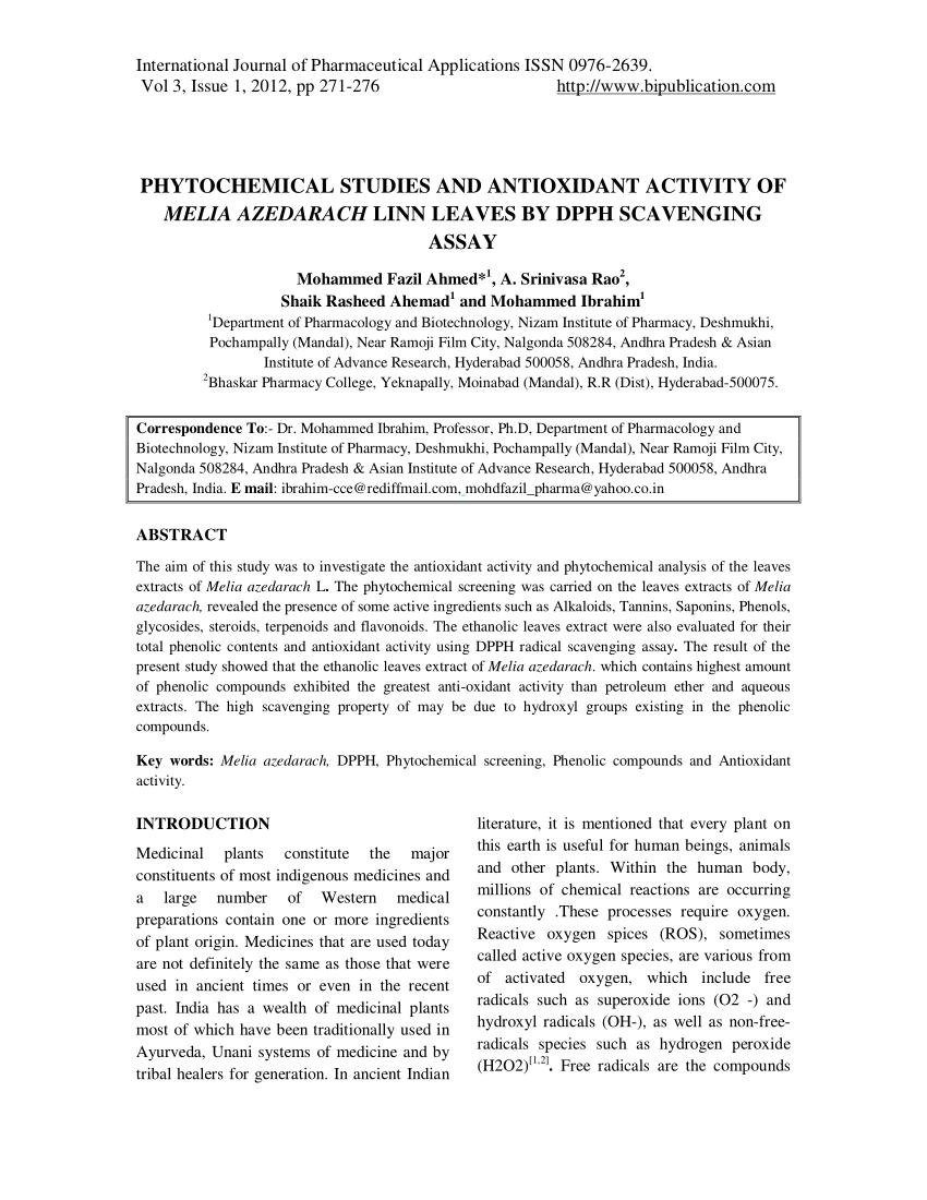 (PDF) Phytochemical studies and antioxidant activity of Melia azedarach linn leaves by DPPH scavenging Assay