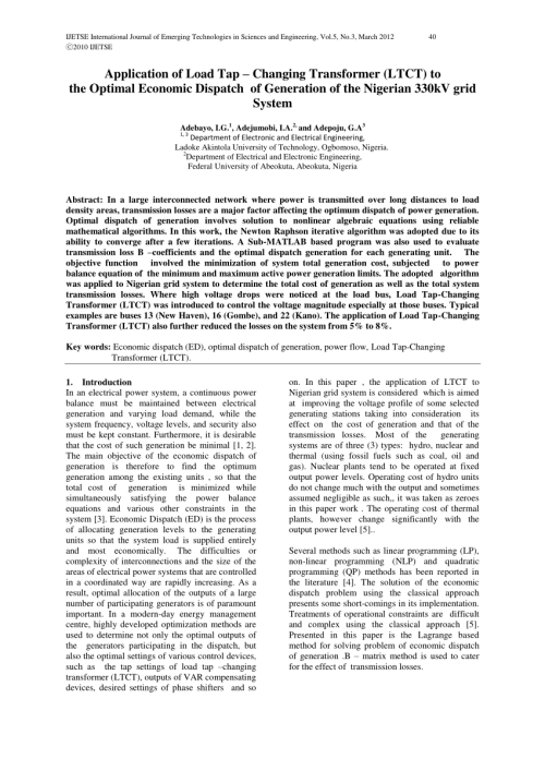 small resolution of  pdf application of load tap changing transformer ltct to the optimal economic dispatch of generation of the nigerian 330kv grid system