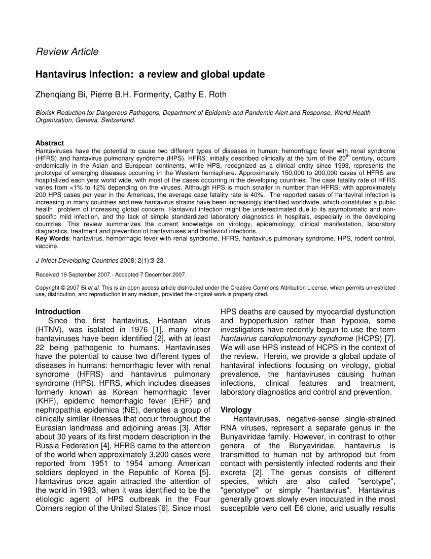 PDF) Hantavirus infection: A review and global update