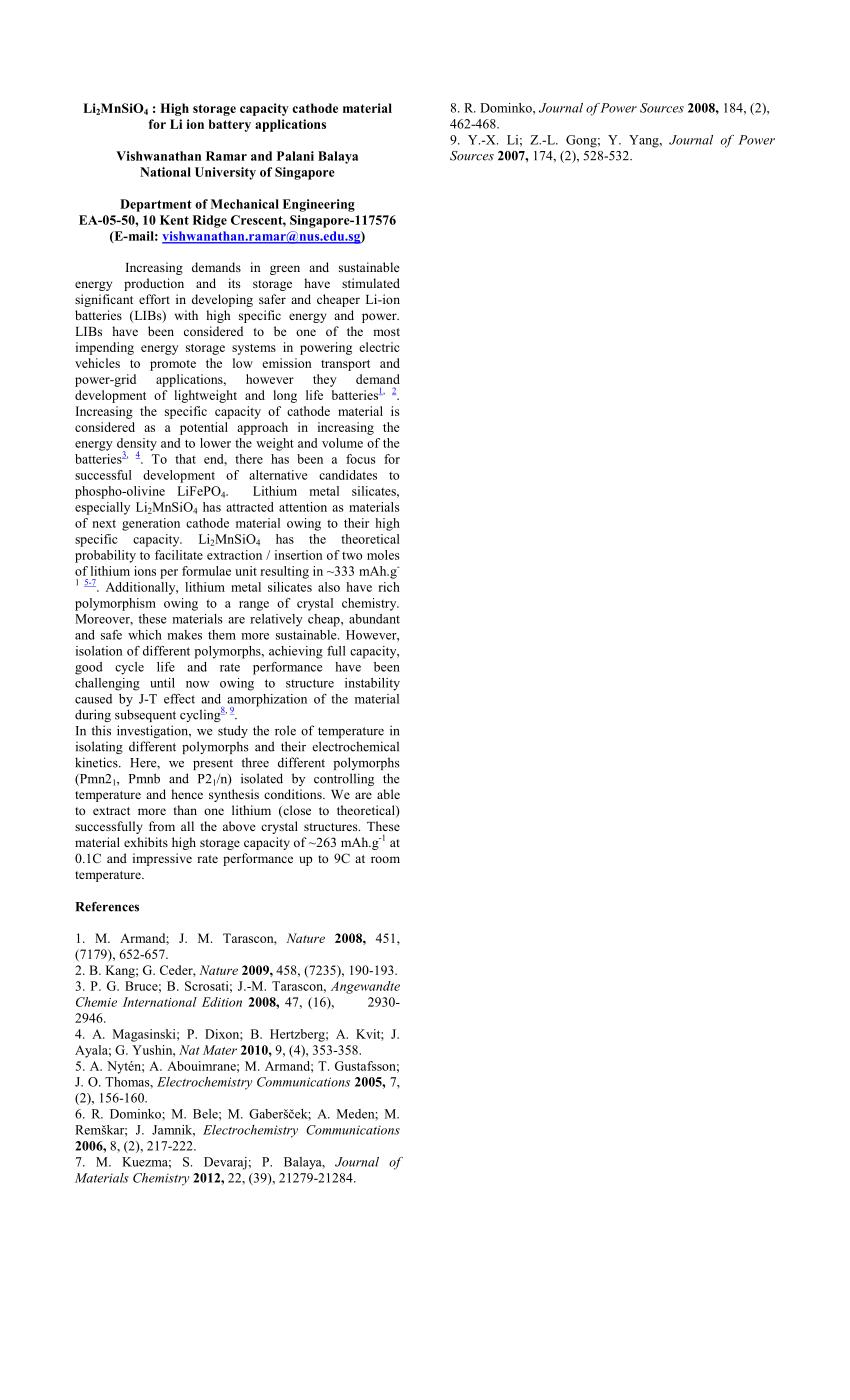 (PDF) Li2MnSiO4 : High Storage Capacity Cathode Material